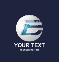 initial letter e logo template colored blue vector image