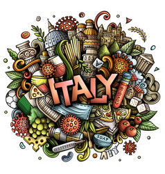 Italy hand drawn cartoon doodles vector