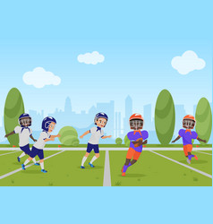 Kids children playing american football match vector