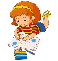 Little girl drawing sun on paper vector