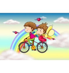 Lovers riding in a bike near the rainbow vector image