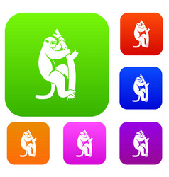 macaque on a tree set color collection vector image
