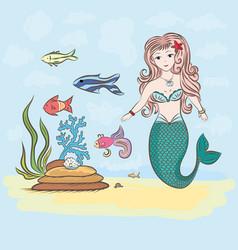 Mermaid and fish rocks and seaweed shell vector