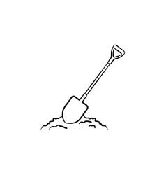 mining shovel in rock hand drawn outline doodle vector image