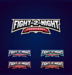 night fight mixed martial arts sport logo on dark vector image