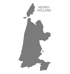 Noord-holland netherlands map grey vector