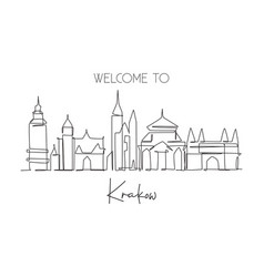 one single line drawing krakow city skyline vector image