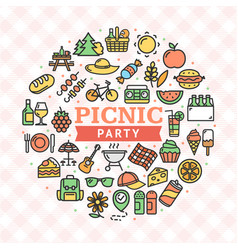 picnic party round design template thin line icon vector image