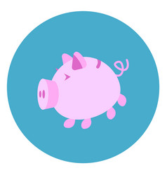 piggy bank icon web button on round blue vector image