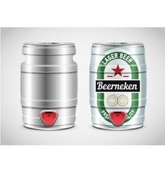 Realistic metal beer keg vector image