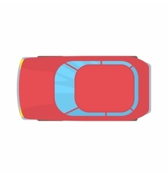 Red car top view icon cartoon style vector image