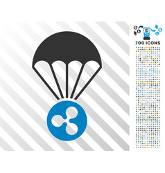 Ripple parachute flat icon with bonus vector