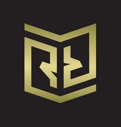 rr logo emblem monogram with shield style design vector image