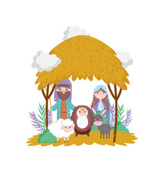 sacred family sheep and donkey manger nativity vector image