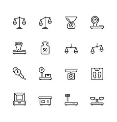 Scales and weighing icon set in thin line style vector