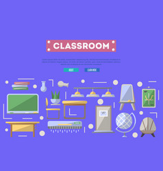 school classroom poster in flat style vector image