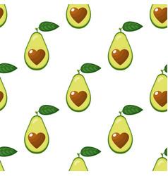 seamless pattern with fresh half avocado vector image