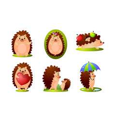 Set cute happy forest hedgehog in different vector