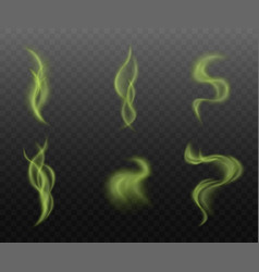 Set green smoke clouds on transparent vector