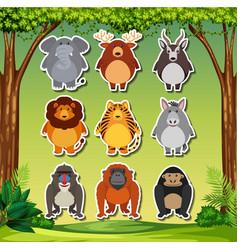set of cartoon animal sticker vector image