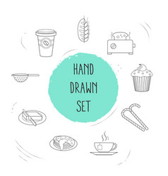 set of food icons line style symbols with colander vector image