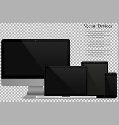 set of realistic computer monitors laptops vector image