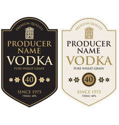 set two labels for vodka in retro style vector image