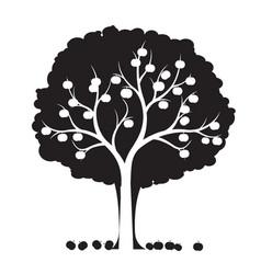 shape apple tree outline plant in garden eps vector image