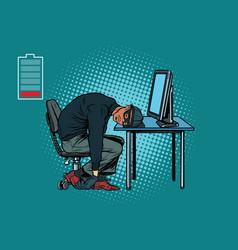 Sleeping african hacker at the computer vector