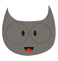 smiling grey cat with eyeglasses on white vector image