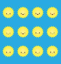 smiling sun emoticons cartoon smile sun set vector image