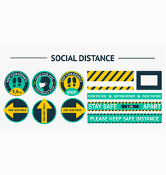 sticker round social distance stickers please vector image