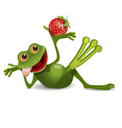 Stock frog with strawberry vector