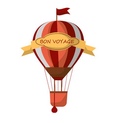 Striped air balloon with sign bon voyage isolated vector
