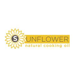 sunflower natural cooking oil emblem natural vector image