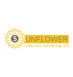 sunflower natural cooking oil emblem of natural vector image