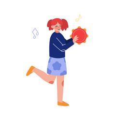 teen girl playing tambourine musical instrument vector image