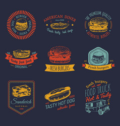 Vintage fast food logo set retro quick vector