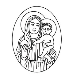 Virgin mary and son sketch line vector