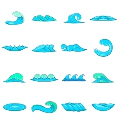 Waves icons set cartoon style vector