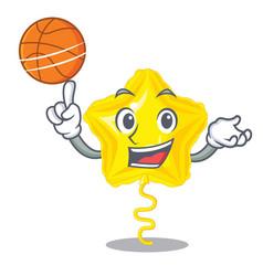With basketball star balloon was flown mascot sky vector