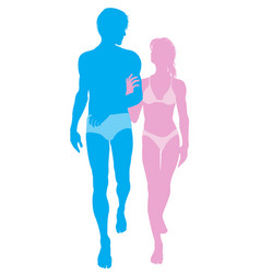 Young couple in love in swimwear vector