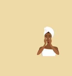 Young woman applying face cream african american vector