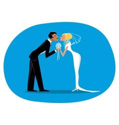 Bride and bridegroom kissing vector image vector image