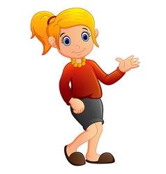 cartoon girl waving vector image