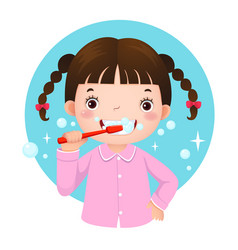 cute girl brushing her teeth vector image