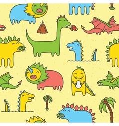 Dino seamless pattern yellow vector image vector image