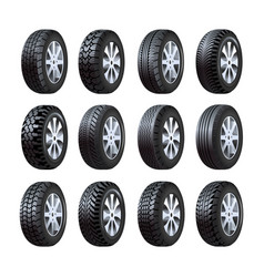 car tires 3d isolated icons with tread vector image