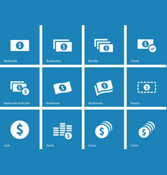 Dollar Banknote blue icons on white background vector image vector image