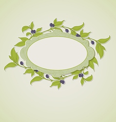 Green olive branches and label vector image